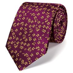Classic burgundy and gold floral tie