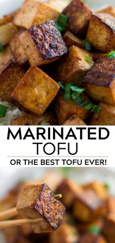 Marinated tofu is super flavorful and easy to make. Serve on a bed of rice with vegetables, or use in sandwiches! Marinated tofu is super flavorful and easy to make. Serve on a bed of rice with vegetables, or use in sandwiches! Veggie Recipes, Whole Food Recipes, Vegetarian Recipes, Cooking Recipes, Recipes Dinner, Vegan Recipes Vegetables, Tufu Recipes, Rice Recipes Vegan, Cooking Bacon