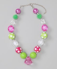 Look what I found on #zulily! Green & Pink Necklace by Diva Daze #zulilyfinds