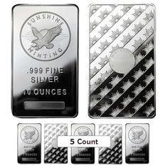 Lot of 5 - 10 oz Sunshine Mint Silver Bar .999 Fine in Coins & Paper Money, Bullion, Silver   eBay