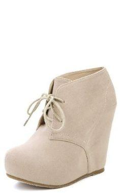 Amazon.com: Lace up Platform Wedge Bootie Hidden Heel (9, nude): Shoes