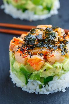 Food And Drink 362750944984795974 - Spicy Shrimp Sushi Stacks – Closet Cooking Source by Easy Fish Recipes, Sushi Recipes, Seafood Recipes, Asian Recipes, Cooking Recipes, Healthy Recipes, Cooking Sushi, Drink Recipes, Healthy Snacks