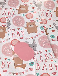 2 Cute Animals New Baby Wrapping Paper