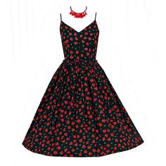 1950's Sequin Red-Roses Floral Belted Rockabilly Sun Dress