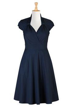 Deep Navy Cotton Poplin Dresses, Surplice Front Spring Dresses Shop womens designer clothing - Wrap Dresses, Black Wrap Dresses, Solid Hue Wrap Dresses, Printed Wrap Dresses   eShakti