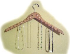 Wood Coat Hanger Jewelry Organizer with 32 Brass Hooks