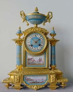 Antique French porcelain and ormolu mantel clock with Sevres style plaques. at Gavin Douglas Fine Antiques Ltd. in London, specialists in antique clocks and decorative gilt bronze Tabletop Clocks, Mantel Clocks, Antique Desk, Antique Clocks, Vintage Clocks, Tick Tock Clock, Cool Clocks, Retro Clock, George Nelson