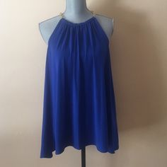 HOST PICKBNWT Michael Kors Royal blue top Beautiful top in size L. Color is royal blue with gold chain which will fall on shoulders. Has zipper in back. Top is size L but can also work for XL cause it's not fitted Michael Kors Tops