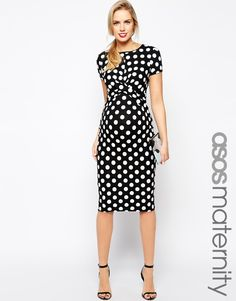 Image 1 of ASOS Maternity Exclusive Body-Conscious Dress In Polka Dot  With Cross Front