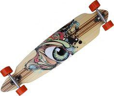 Profi Longboard Cruiser Eye mit Orange Longboard Wheels 46 x 9.25 inch