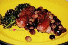 Salsicce al vino con olive e cicoria
