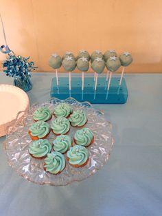 Christening Cake Pops & mini Cupcakes.