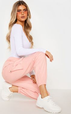 The Tall Pink Pocket Detail Cargo Trousers. Head online and shop this season's range of tall at PrettyLittleThing. Trousers Women, Pants For Women, Body Blanc, Outfits For Teens, Cute Outfits, Pink Fashion, Fashion Outfits, Cargo Pants Outfit, Pantalon Cargo