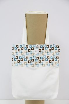 Handmade Shopping Bag, Shopping bag, Tote Bag. Blue abd brown squares shopping bag. Squares shopping bag