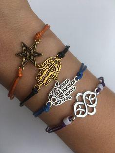 Cord bracelet, Orange bracelet, Hamsa bracelet, Purple bracelet, Black bracelet, Gift for her, Woman bracelet Black Bracelets, Cord Bracelets, Adjustable Knot, Anchor Charm, Beaded Choker, Hamsa, Gifts For Her, Chokers, Orange