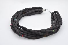 Black  and multicolor wooden necklace Jewelry for Women Strand Necklace Big Bead Necklace Ethnic  Handmade Beaded Necklace by FeltNecklace on Etsy