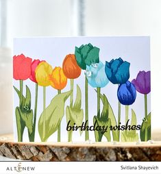 Superb rainbow tulip as a birthday card. Check our blog to see the creative process and start creating yours. www.altenew.com