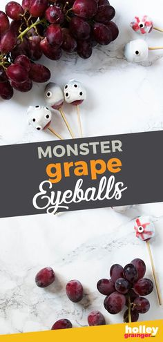 Halloween Recipe: Monster Grape Eyeballs - For a healthy and equally gory Halloween snack, serve Monster Grape Eyeballs featuring frozen grapes, yogurt and strawberry juice. Halloween Breakfast, Healthy Halloween Snacks, Healthy Meals For Kids, Halloween Treats, Kids Meals, Healthy Snacks, Healthy Recipes, Halloween Fun, Fruit Recipes