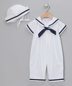 Take a look at this White Sailor Playsuit & Cap - Infant by Fantaisie Kids on #zulily today!
