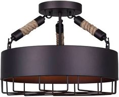 """Canarm ISF662A03 Portsmouth 3 Light 15-3/4"""" Wide Semi-Flush Drum Ceiling Fixture Oil Rubbed Bronze Indoor Lighting Ceiling Fixtures Semi-Flush"""