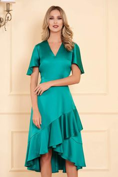 Ana Radu fuchsia occasional long dress mermaid cut with ruffle details from satin, with ruffle details, without clothing, long sleeves, satin fabric texture Baptism Dress, Mermaid Dresses, Satin Fabric, Nasa, Size Clothing, Dress Outfits, Evening Dresses, Short Sleeve Dresses, Clothes For Women
