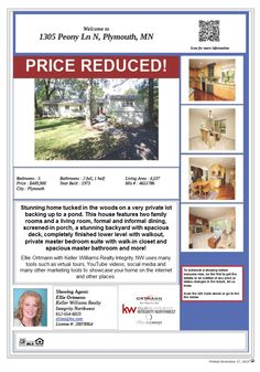 1305 Peony Ln N Plymouth MN 55447 Price Improvement! This home in Williams Woods is close to shopping, lakes, parks and Wayzata Country Club. Lovely pond view from the deck. ISD 284 Wayzata schools.