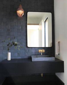 Ideas for the bathroom: 55 blue bathroom design ideas … - Bathroom Blue Bathrooms Designs, Dark Bathrooms, Bathroom Taps, Amazing Bathrooms, Small Bathroom, Bathroom Lighting, Bathroom Modern, Minimalist Bathroom, Master Bathroom