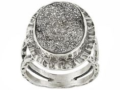 Artisan Collection Of Israel, Platinum Drusy Oval Sterling Silver Ring Erv $178.00