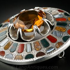 Large Antique Scottish Silver, Citrine and Agate Pin - 50-1-4615 - Lang Antiques