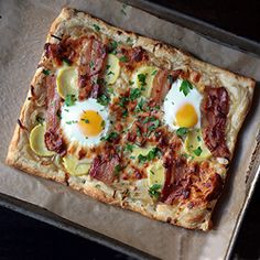 he final word on weekend brunch. breakfast tart with caramelized ONIONS, BACON, sweet POTATOES, and sunny EGG
