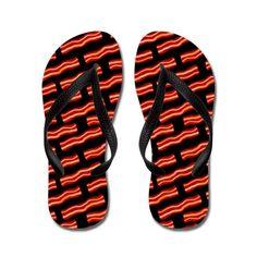 Tasty Bacon Strips Pattern Flip Flops Personalized Flip Flops, Decorating Flip Flops, Rubber Flip Flops, Cool Patterns, Flip Flop Sandals, Flipping, Color Combinations, Bacon, Slip On