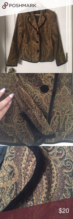 Paisley Brown Black Gold Blazer Jacket EUC. Beautiful jacket with black velvet trim edward Jackets & Coats Blazers