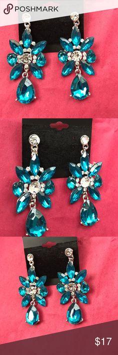 New Aqua Tear Drop Fashion Earrings Gorgeous Quality Tear Drop Earrings Crystal Hand Made Dallas Stylez Jewelry Earrings