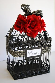 Large BLACK Wedding Bird Cage Card Holder by MackensleyDesigns, $65.00 but with purple flower