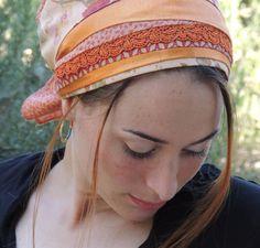 Shiny Orange Tichel- tichel,Hair Snood, Head Scarf,Head Covering,jewish headcovering,Scarf,Bandana,apron