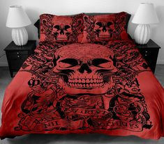 Skull Love Beauty Bedding Set Duvet Cover Pillow Case Twin Full Queen King NewFeatures Our Duvet Cover Set areWithout Any Filler/Insert. Duvet Cover Set (Insert not included) Twin Cover King Size Duvet Covers, Duvet Cover Sets, Skull Bedroom, Duvet Bedding Sets, Queen Bedding, King Comforter, Dorm Bedding, Comforters, Cotton Bedding