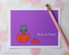 Black Cat Halloween Trick or Treat Card by SunnyDoveStudio Zombie Halloween Card by SunnyDoveStudio #cute #kawaii #cat #blackcat #pumpkin #halloween #cards #greetingcards #handmade #etsy