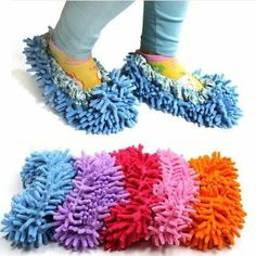 Cute Dust Mop Slippers Shoes Floor Cleaner Clean Easy Bathroom Office Kitchen(Purple): Amazon.co.uk: Kitchen & Home