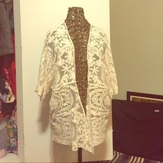 Lace/crochet cream cardigan Like new! Super cute cardigan/overlay for summer. Worn once- just not my style. Tag says medium but its more of a OS. I believe it would fit S-XXL Ⓜ️ Knapp Studio Sweaters Cardigans