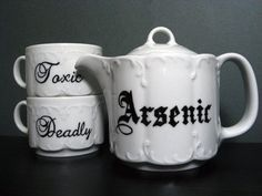 """This would be a great addition to  a murder mystery themed tea party. A very """"deadly"""" selection my deary. Cue the evil laugh! #teaparty #teatime #tea"""