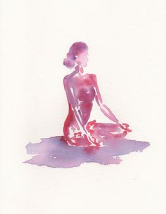 Yoga Lotus Pose | Pink Watercolour Painting | Original art by Sybilleart on Etsy