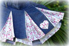 MaisyMoo Designs Girls Box Pleat Skirt - 'Fairy Floss' Denim with Heart - by MaisyMooDesigns on madeit