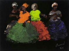 Bahia women painting on Velvet..#folkart