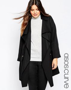 755cf7e70de4b Image 1 of ASOS CURVE Trench With Waterfall Front Asos Curve