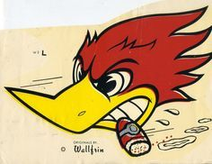 vtg Wallfrin decal hot rod wood pecker drag race novelty Kustom Kulture BIG rare