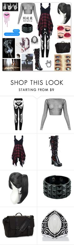 """""""Su.icide Squad OC: Chloe Hudson"""" by pastelkittyxx ❤ liked on Polyvore featuring beauty, Demonia, Brixton and GET LOST"""