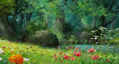 Studio Ghibli Anime Landscape Poster - Mac Computer Desktop - Ideas of Mac Computer Desktop - Also buy this artwork on wall prints apparel phone cases and more. Scenery Background, Forest Background, Animation Background, Background Images, Forest Wallpaper, Anime Scenery Wallpaper, Landscape Wallpaper, Nature Wallpaper, Hd Wallpaper