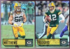 LOT OF 2 2016 PRESTIGE XTRA POINTS GREEN BAY PACKERS AARON RODGERS CLAY MATTHEWS