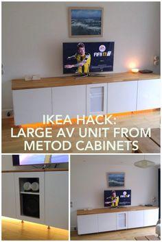 AV unit deep enough for AV amp, hacked from METOD kitchen cabinets.