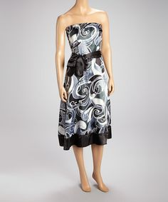 Take a look at this Black & White Abstract Strapless Dress by She's Cool on #zulily today!